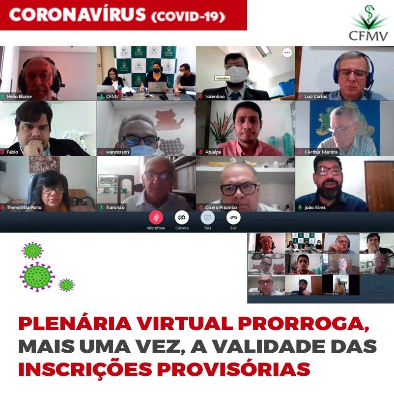 Plenária virtual prorroga, mais uma vez, a validade das inscrições provisórias