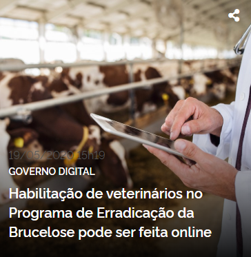 Cadastramento para realização de testes diagnósticos de brucelose e tuberculose será pela internet