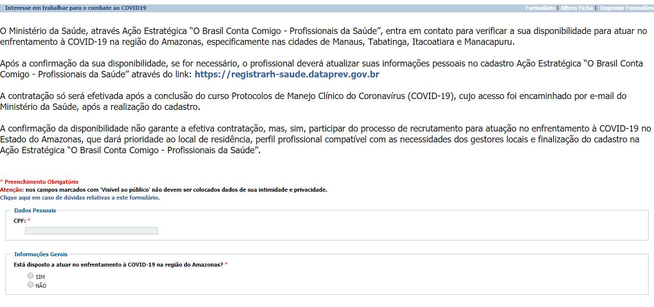 Reprodução da imagem do novo formulário do Ministério da Saúde