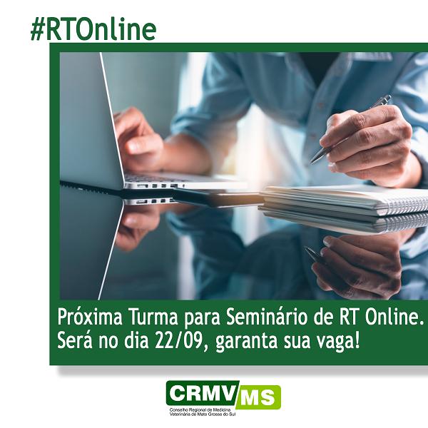 CRMV-MS realiza 57º Seminário Básico de RT Online, no dia 22/9