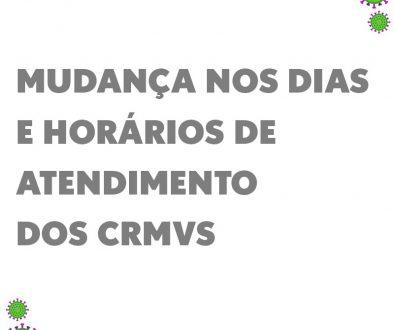 Em virtude da confirmação e do aumento dos casos de contaminação pelo novo coronavírus, que causa a Covid-19, alguns Conselhos Regionais de Medicina Veterinária (CRMVs) tiveram que adaptar seus horários e dias de atendimento aos profissionais e ao público. Confira! CRMV-AC Atendimento presencial suspenso até 31 de março. O CRMV-AC aconselha profissionais e comunidade a entrar em contato por e-mail ou telefone. Horário de atendimento de segunda-feira a quinta-feira, das 8h às 12h e das 13h às 17h, sexta-feira das 8h às 13h. https://www.crmvac.org.br/ CRMV-AL Retomada do atendimento presencial de 13 a 24 de abril. Agendamento pelo e-mail crmv-al@crmv-al.org.br, de 07 a 17 de abril. O atendimentos só será feito com horário marcado. www.crmv-al.org.br CRMV-AM Atendimento presencial suspenso até o dia 15 de abril. Funcionários trabalham na modalidade remota. O Conselho Regional aconselha profissionais e comunidade a entrar em contato por e-mail. http://www.crmv.am.gov.br/ CRMV-BA Atendimento presencial suspenso até o dia 30 de abril. Ficam mantidos os atendimentos telefônicos, por e-mail e por Whatsapp. Funcionários trabalham na modalidade remota. http://crmvba.org.br/ CRMV-CE O Conselho suspendeu as atividades por 30 dias, a partir do dia 23 de março. O Conselho Regional aconselha profissionais e comunidade a entrar em contato por telefone, e-mail e Whatsapp. https://www.crmv-ce.org.br/ CRMV-DF Suspensas as atividades até 21 de abril. O Conselho Regional aconselha profissionais e comunidade a entrar em contato por e-mail. http://www.crmvdf.org.br/ CRMV-ES Suspendeu parcialmente o atendimento presencial, de 6 até o dia 15 de abril. Aendimento será on line e por agendamento. Para pessoa jurídica, será possível o registro por meio presencial e online. Confira no portal do Conselho Regional. https://www.crmves.org.br/ CRMV-GO Atendimento presencial está suspenso até o dia 4 de abril. O Conselho Regional aconselha profissionais e comunidade a entrar em contato por e-mail ou 