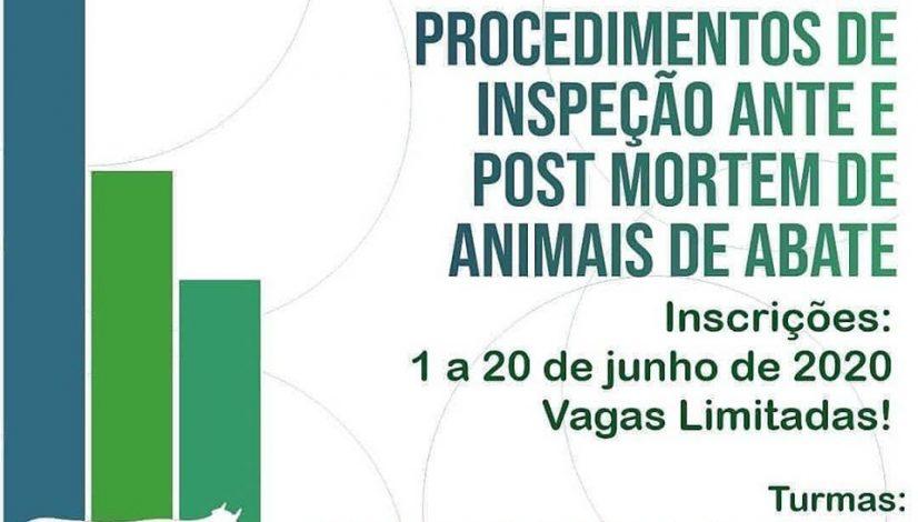 Curso EAD sobre Procedimentos de Inspeção ante e post mortem de animais de abate - inscrições até 20 de junho
