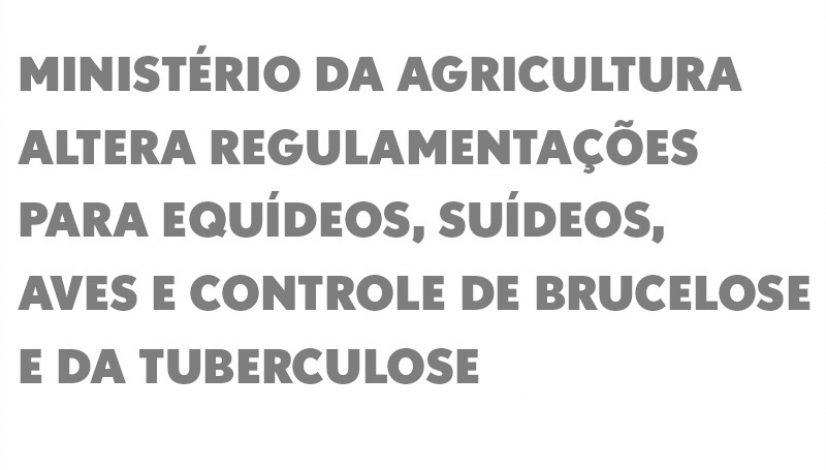 Ministério da Agricultura altera regulamentações para equídeos, suídeos, aves e controle de brucelose e da tuberculose