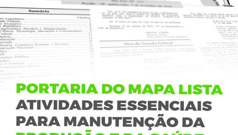 Portaria do Mapa lista atividades essenciais para manutenção da produção e da saúde animal