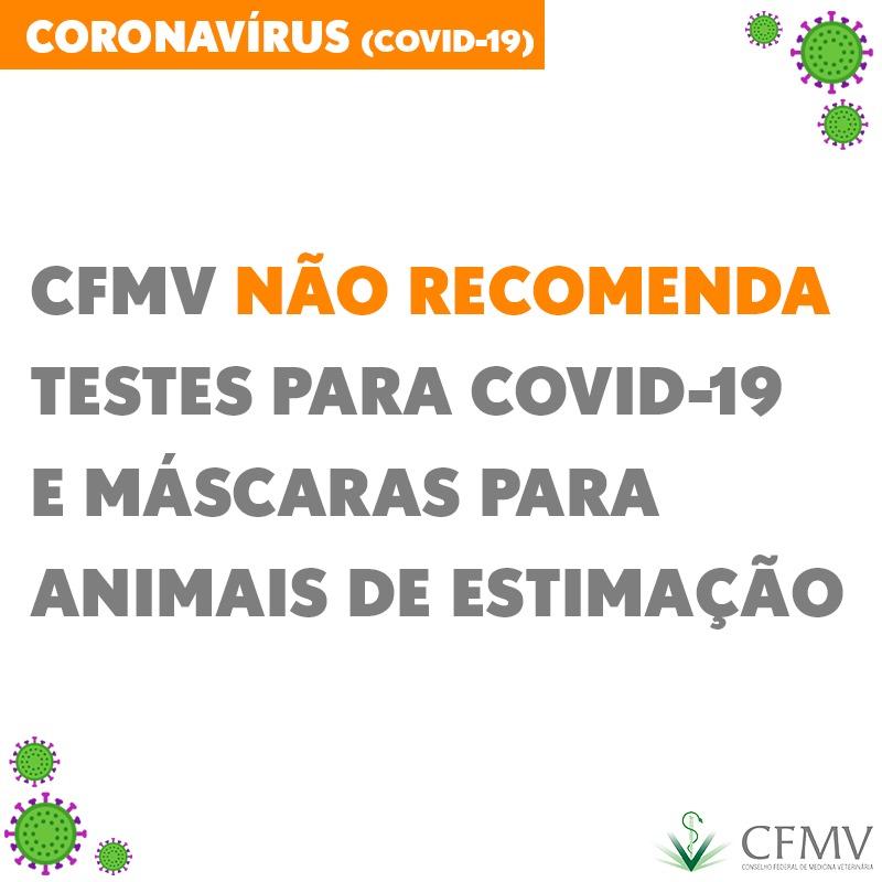 CFMV não recomenda venda de testes para Covid-19 e máscaras para animais de estimação