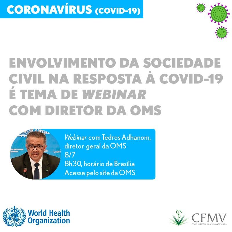 Envolvimento da sociedade civil na resposta à covid-19 é tema de webinar com diretor da OMS