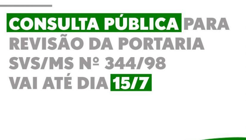 Consulta pública para revisão da Portaria nº 344/98 da Anvisa vai até dia 15/7