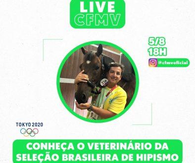 Olimpíadas: veterinário da Seleção Brasileira de Hipismo será entrevistado ao vivo no Instagram do CFMV